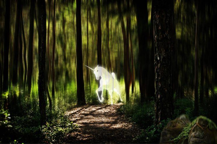 7 mitów, własny biznes, biały jednorożec w ciemno-zielonym lesie